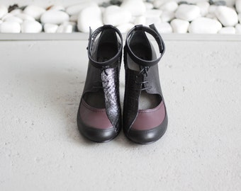 CLAIRE - Wine&Black - FREE SHIPPING Handmade Shoes with winter sale price