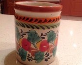 Mexican Pottery Utensil Canister
