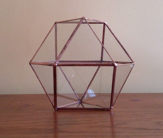 Stained Glass Geometric Terrarium Copper Coffee Table Art Home Decor Indoor Gardening Clear