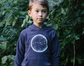 Little Dipper Toddler and Youth Triblend Navy Hoodie. Unisex Constellation of Stars Kids Sweatshirt that glows in the dark.