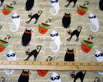 Cheeky Wee Multi Halloween Motifs Tossed Beige Newsprint  premium cotton fabric by Studio E