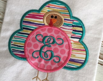 Turkey Monogram Thanksgiving Fall Applique Embroidery Design 5x7 6x10 8x12