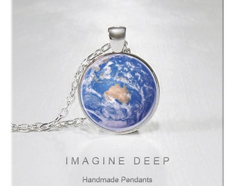 BUY 2 GET 1 FREE Earth Pendant Necklace Beautiful Blue Planet High Quality Handmade Silver Copper Pendant - Awesome Earth - Australia (140)