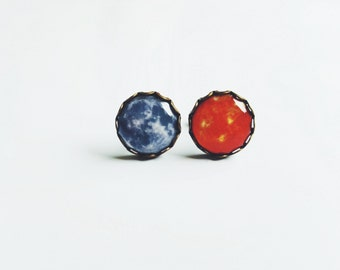 Sun And Moon Stud Earrings, Space Earrings, Space Jewerly, Universe Jewerly, Full Moon Earrings, Gift For Her Him, FREE SHIPPING