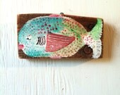 Original folk art painting on salvaged wood - Fat old fancy flounder a la Ann Frantic but not as good - MADE IN USA - Free shipping