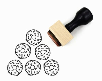 Rubber Stamp Sprinkles Donut - Hand Drawn Stamp