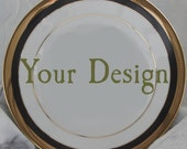 Customized Black and Gold Dishes, Personalized Plates, Personalized Dinnerware, Customized China, Porcelain Plates, Bespoke Plates
