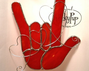 Red Sign Language I Love You Hand with 3 Hearts Stained Glass ASL made from U.S. made Art Glass
