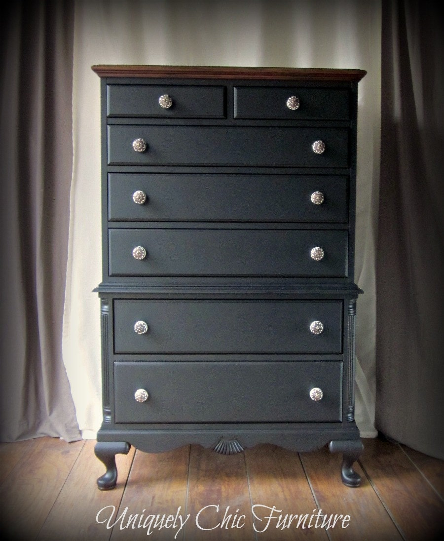 Vintage Black Highboy Tall Dresser