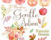 Gentle Autumn, Watercolor Clipart Elements and bonus Bouquet, hand painted Wedding clipart, Wedding Invitation, Fall Flowers, Autumn Flowers