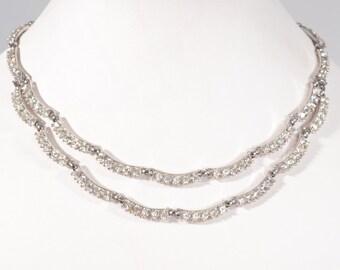 Vintage 1950s Bogoff Wedding Necklace - Rhinestone Bib - Bridal Fashions