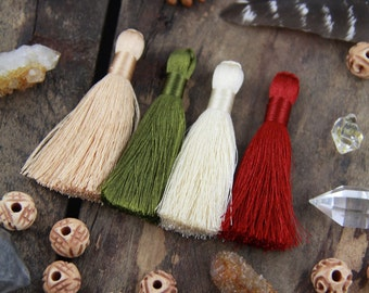 "Fall Colors Tassels, 2"" Inch Silky Tassels, 4 Colors: Burgundy, Mossy Green, Cream, Toasted Almond, Jewelry Making Supply, 3.5"", 4 Pieces"