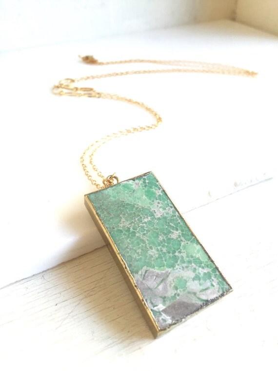 Long Gold Aqua Stone Necklace. Layering Necklace. Aqua Jasper Rectangle Stone Necklace. Long Bar Necklace. Boho Jewelry. Pendant. Gift.