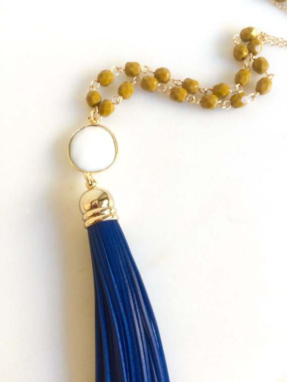 Tassel Necklace Navy and Mustard. Leather Tassel Necklace.  Long Gold Tassel Necklace. Gold Tassel Necklace.  Boho Style. Strand Necklace.