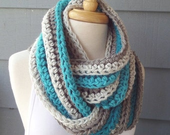 SALE / Chunky Infinity Scarf Cowl - Striped Infinity - Teal and Grey