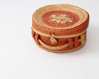 SALE vintage Italian basket with lid, floral woven hat box