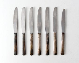 vintage silver plate knife set, collection 7 dinner knives