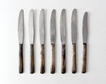 FREE SHIP  vintage silver plate knife set, collection 7 dinner knives