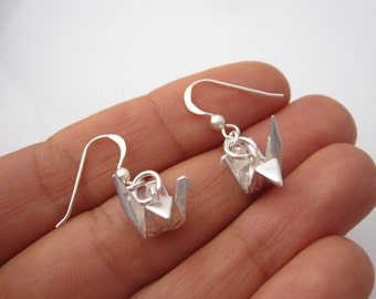 3d ORIGAMI CRANE sterling silver dangle earrings, Japanese origami bird earrings