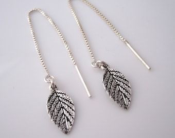 Ornate small LEAF LEAVES sterling silver box thread earrings
