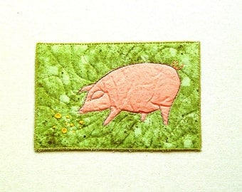 Pig postcard, pigs lover gift, pigs collector gift, Pink Pig on green, pig greeting card, gift for farmer, year of pig, Fiber Art Card