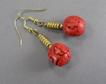Carved Cinnabar Earrings, Carved Chinese Bead, Genuine Cinnabar, Deep Red, Ball Dangle, Vintage Asian Jewelry