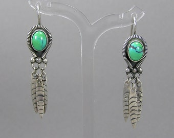 Turquoise & Feather Earrings, Sterling Dangle Earrings, Gorgeous Turquoise, Spider Web, Native American, Vintage Ethnic Jewelry, Boho