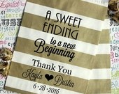 """Paper Bags, 200 Gold Metallic Rugby Stripe Personalized Wedding Candy Bags, """"A Sweet Ending to a New Beginning"""" with Names and Dat"""