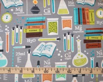 Benartex. Academic Club. Good Chemistry Grey - Cotton fabric BTY - By the Yard - Choose your cut