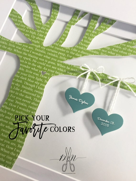 Original Wedding Lyric Tree Anniversary Gift. Celebrate Your Wedding Vows or First Dance Song with Custom Colors