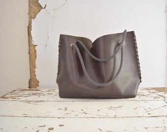 Dark Leather Tote  with Rope Straps - Brown Taupe - Ready to Ship as Seen