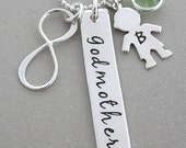 Godmother Gifts, Godparent Personalized Gifts, Baptism Gifts, Christening Gifts, Godparent Gifts form Godchild, Silver Personalized Necklace