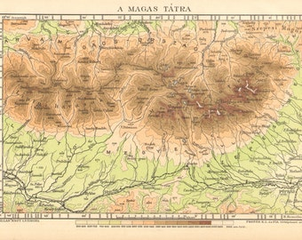 1893 Relief Map of the High Tatras or High Tatra Mountains