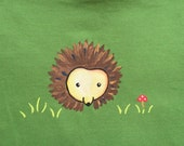 Hedgehog childrens t shirt /Hand Painted on Organic cotton/ washable