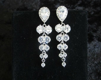 Chandelier Earrings, Chandelier Bridal Earrings, Rhinestone Leaf Earrings, Wedding Jewellery, Post Earrings, Stud Earrings,