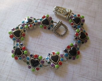 Heart Bracelet Multi Gemstone Magnetic Clasp Gorgeous