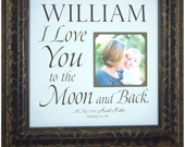 I Love You To The Moon and Back, Baby Picture Frame, Baptism Gift from Aunt, Christening Gift, First Birthday, Baby Newborn Gift, 16x16