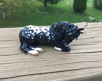Black Appalusso Horse  OOAK Polymer Clay Sculpture made to order