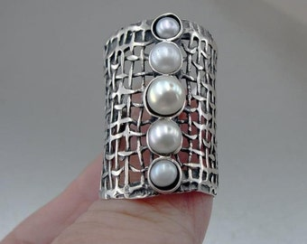 Handcrafted 925 Sterling Silver Pearl Ring, White Freshwater Pearl Ring, Ring size 9, June birthstone, Fine Pearl Ring(1142b)