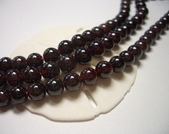 Natural Garnet beads, 6mm round beads, ruby, red, 6mm beads, natural gemstone beads, red garnet, 6mm gemstone beads, wine red, deep red