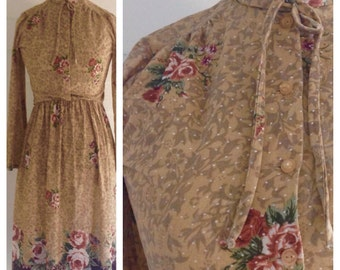 Vintage 1970s Tan Wintry Floral Dress w Polka DOT Detail and Neck Bow