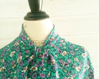 Vintage 80s  Floral Secretary Shirt - Teal, Purple Floral Top with Pussy Bow XL