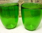 2 Old Fashioned Emerald Green vintage Drinking Glasses