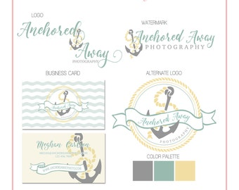 Premade Business Logo - Nautical Anchor & Rope Branding Set - Watermark - Photography - Customizable - Predesigned - Option to retire design