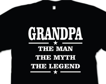 Grandpa The Man The Myth The Legend Mens T-shirt  Grandpa Birthday Fathers Day Gift Grandfather Grandad