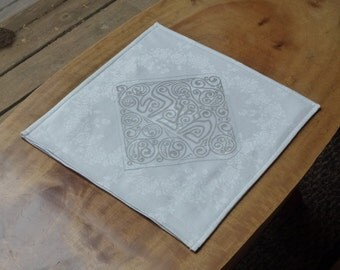 Matzoh Cover, White and Silver or Gold, Up-cycled Vintage Linen