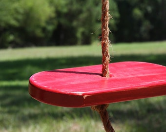 Single Rope Red Wooden Disc Tree Swing