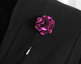 Purple lapel pin, mens boutonniere, grooms boutonniere, groomsmen, wedding lapel pin, mens lapel pin, lapel flower pin, corsage