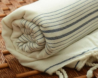 SALE % 50 OFF Personalized Dark Blue Eco-Friendly Turkish Towel - Peshtemal for Bath&Beach - Monogrammed Beach Towel - Bachelorette Party