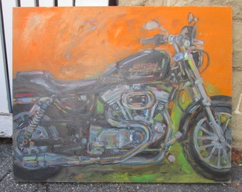 "Original Oil Painting by Listed Artist John David O'Shaughnessy Harley Davidson Motorcycle ""Sportster"" Oil on Canvas 29"" by 36"""